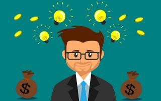 graphic of man thinking of money