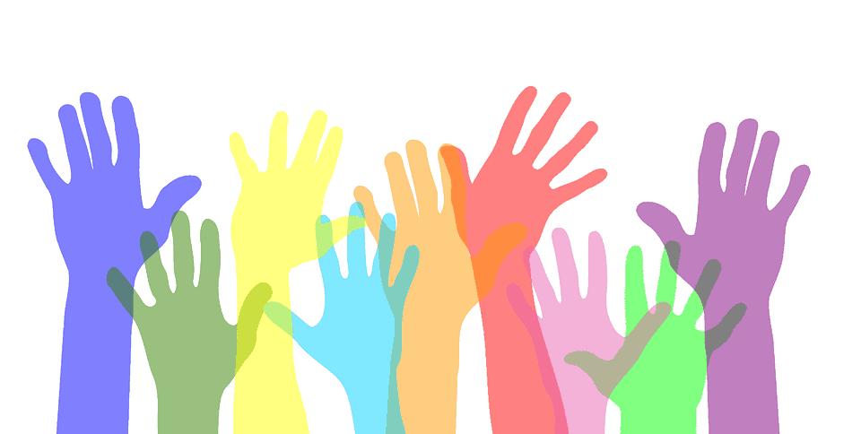 graphic of hands being raised to volunteer