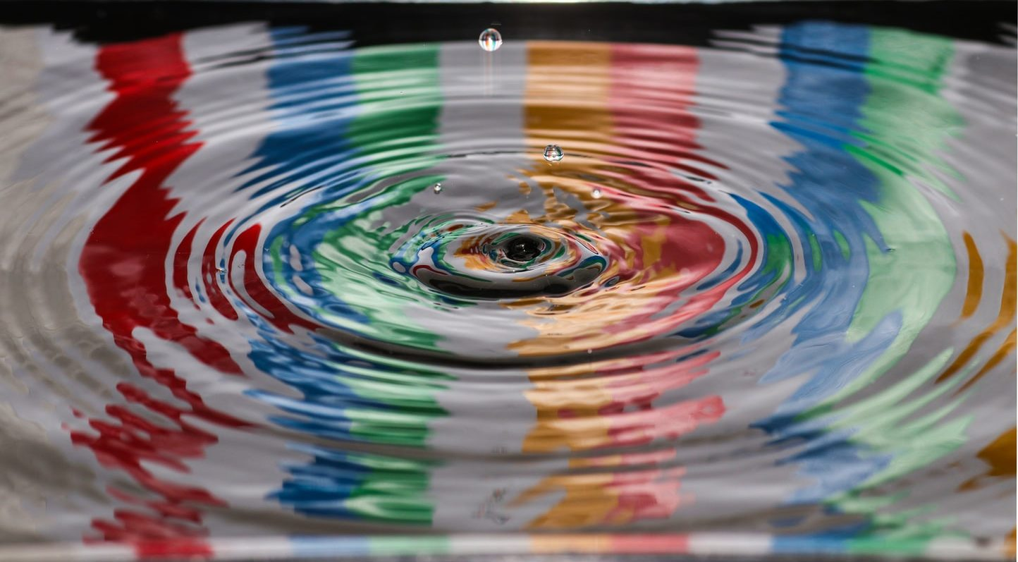spalsh of water on a reflective pool