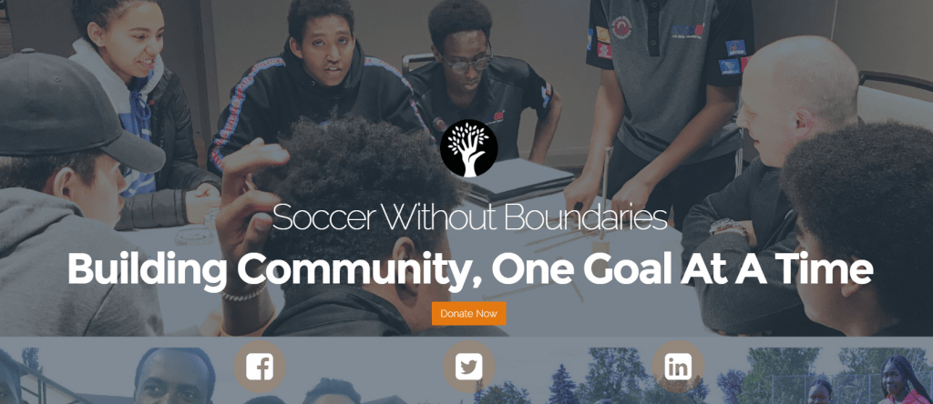 soccer without boundaries home page screengrab