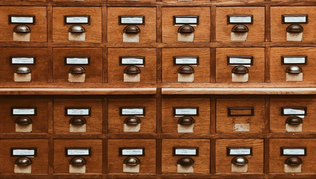 picture of library card database shelf